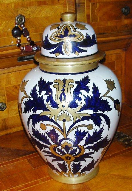 batignani italien keramik deckel vase mit randeinkerbung ebay. Black Bedroom Furniture Sets. Home Design Ideas