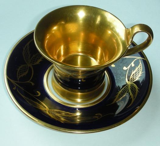 rosenthal handmalerei m nchen mokkatasse mit untertasse gold kobaltblau. Black Bedroom Furniture Sets. Home Design Ideas